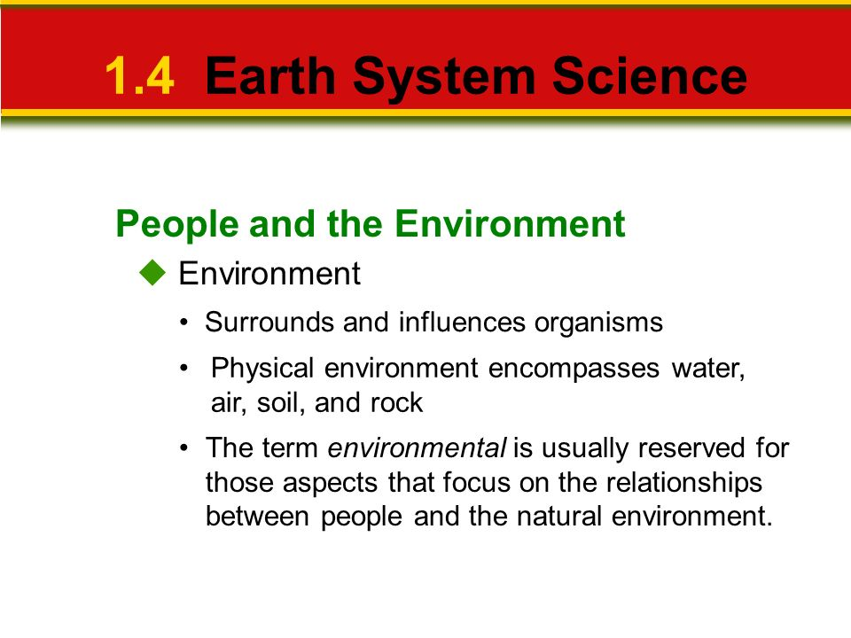 1.4 Earth System Science People and the Environment  Environment