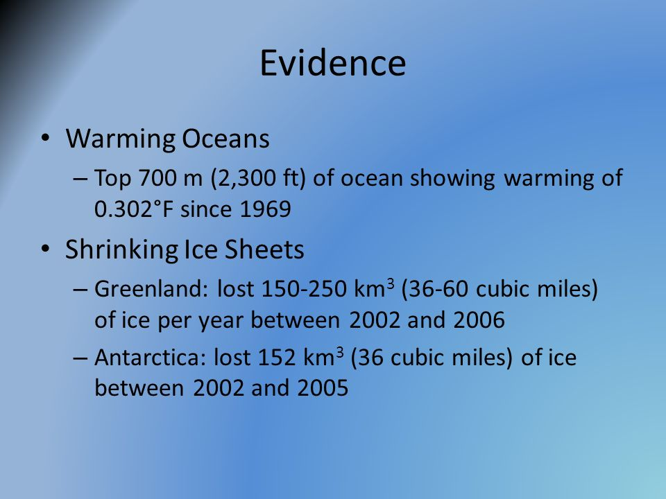 Evidence Warming Oceans Shrinking Ice Sheets