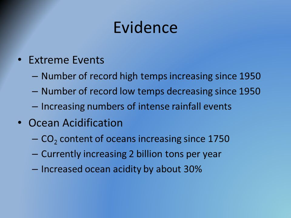 Evidence Extreme Events Ocean Acidification