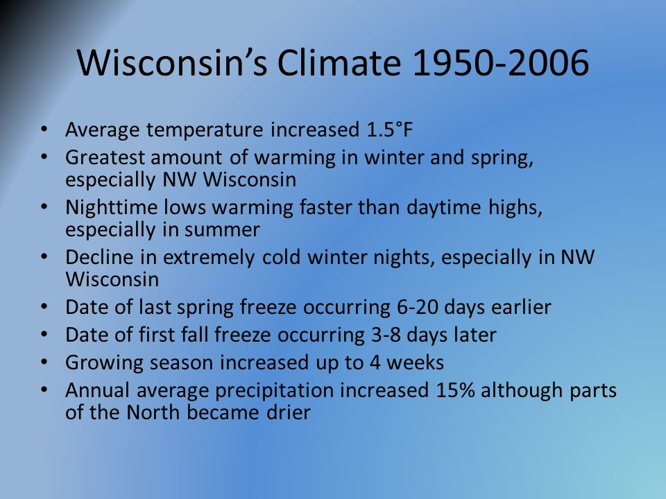 Wisconsin's Climate Average temperature increased 1.5°F