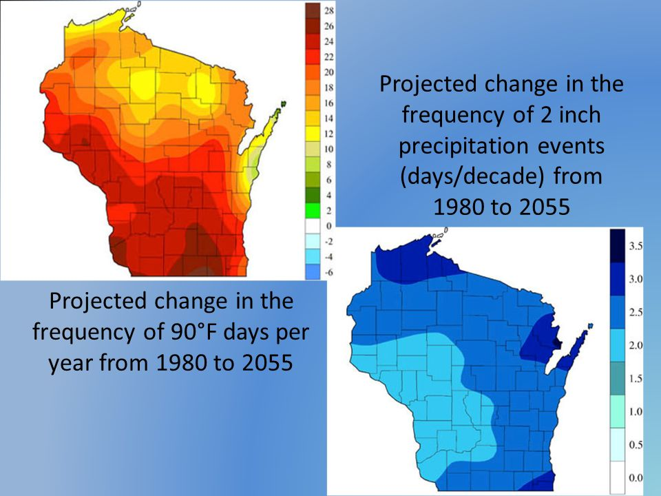 Projected change in the frequency of 2 inch precipitation events (days/decade) from 1980 to 2055