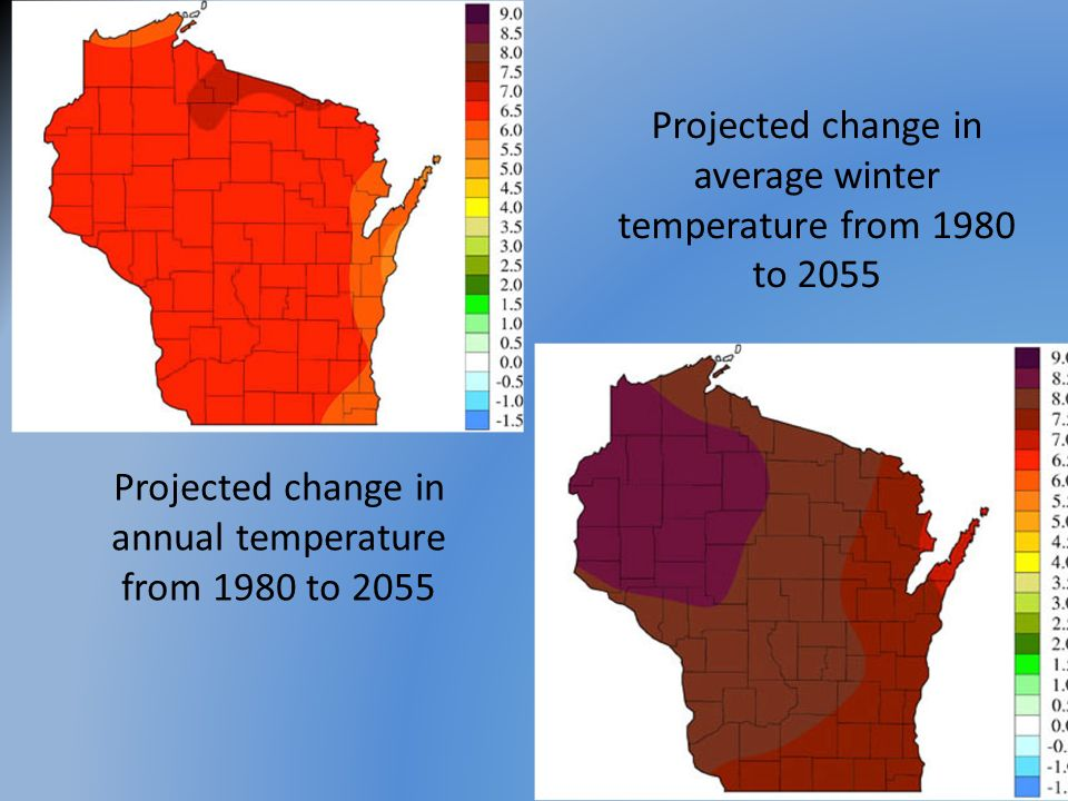 Projected change in average winter temperature from 1980 to 2055