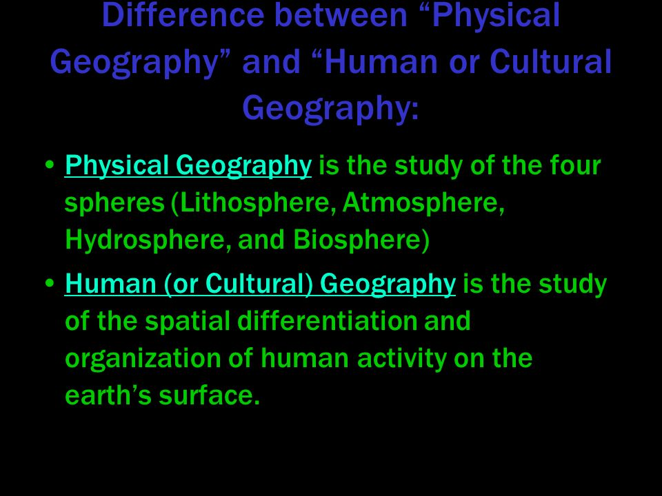 physical and human geography Land use is how land is used for geographical ways such as farming is one way physical and human geography is like how humans createe an effect on.