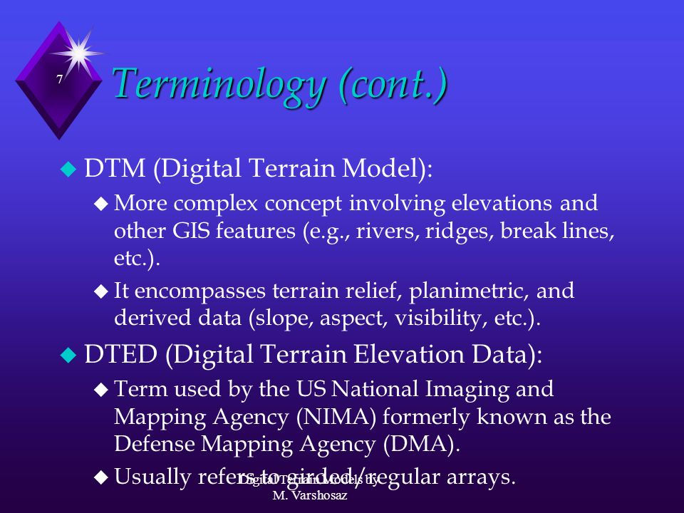 Digital Terrain Models By M Varshosaz