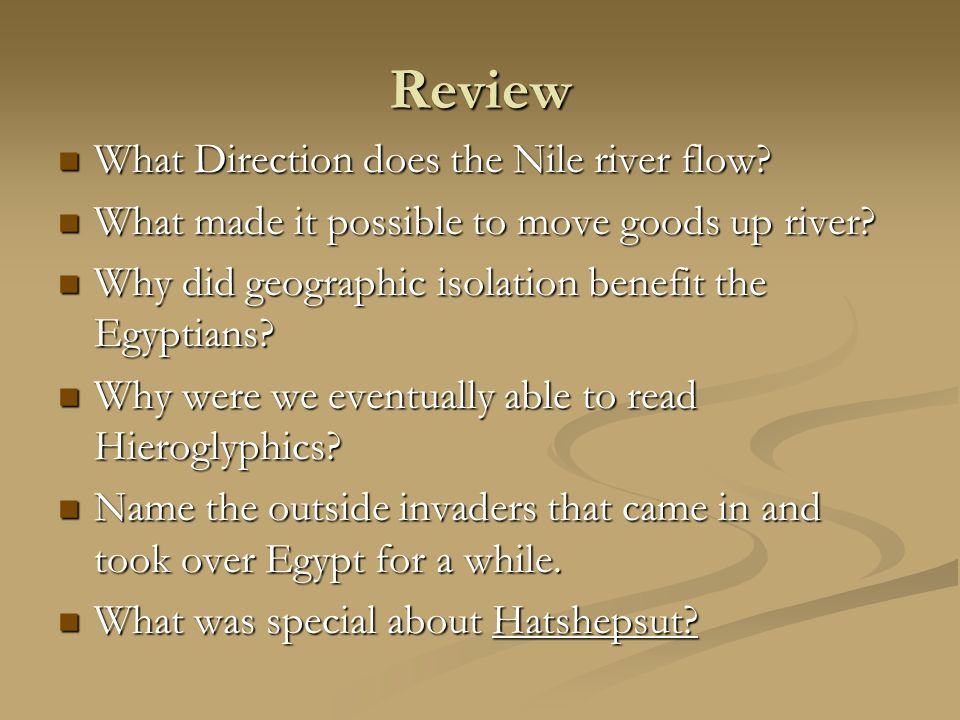 Review What Direction does the Nile river flow