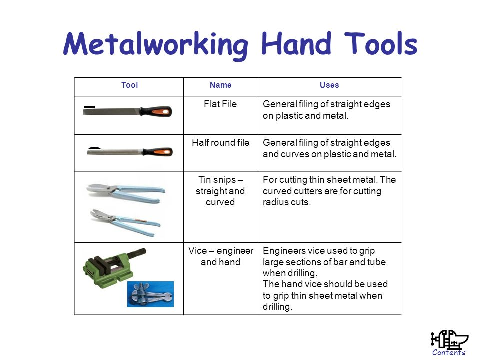 hand tool names. metalworking hand tools tool names