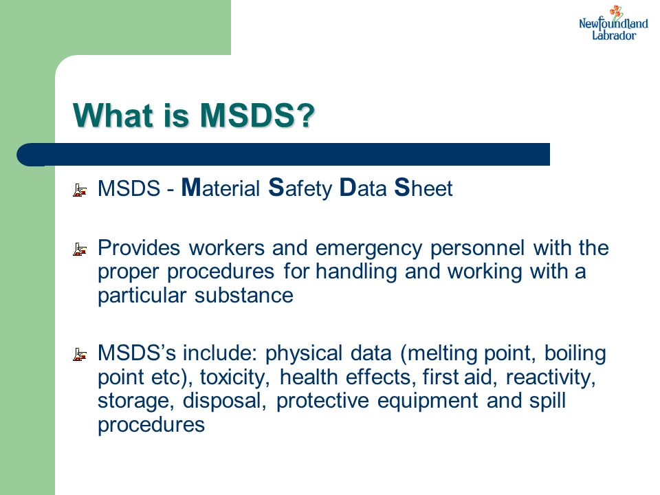 What is MSDS MSDS - Material Safety Data Sheet