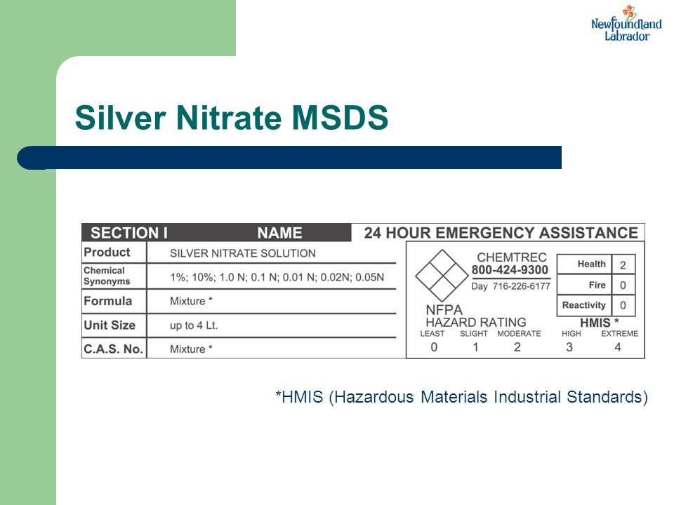 Silver Nitrate MSDS *HMIS (Hazardous Materials Industrial Standards)