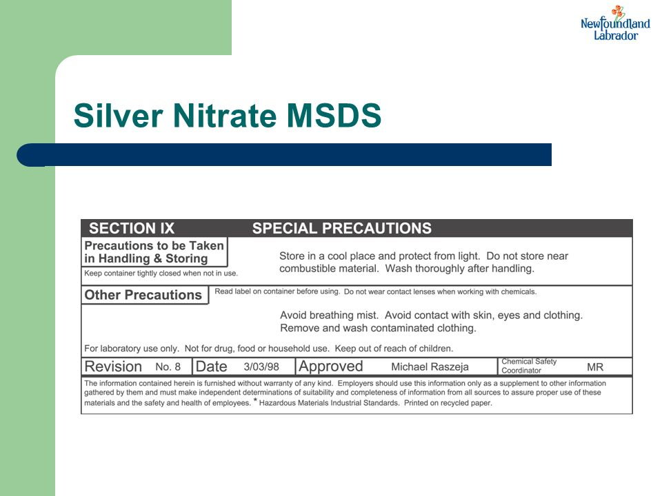 Silver Nitrate MSDS