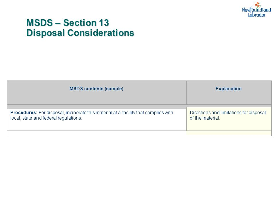 MSDS – Section 13 Disposal Considerations