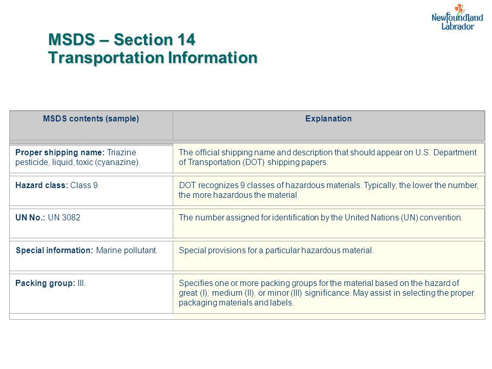 MSDS – Section 14 Transportation Information