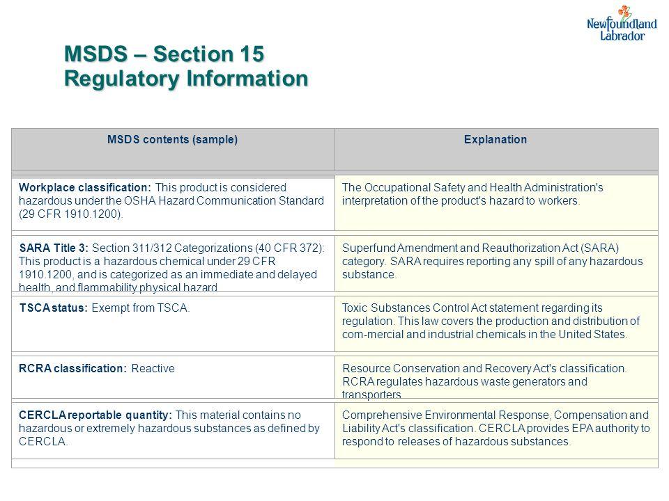 MSDS – Section 15 Regulatory Information