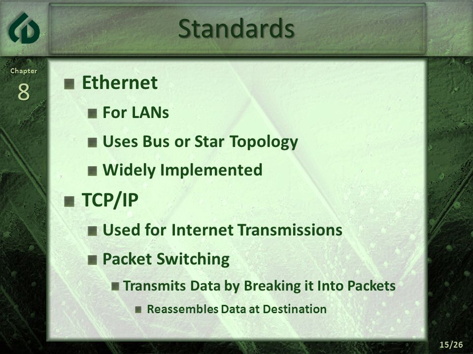 Standards Ethernet TCP/IP For LANs Uses Bus or Star Topology