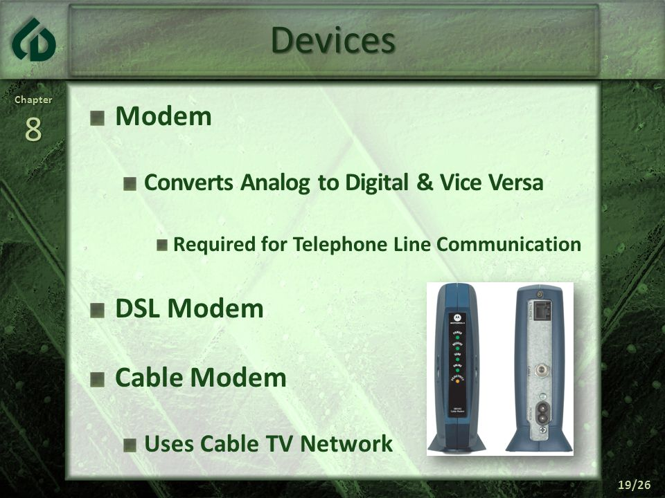 Devices Modem DSL Modem Cable Modem