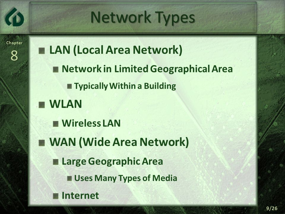 Network Types LAN (Local Area Network) WLAN WAN (Wide Area Network)
