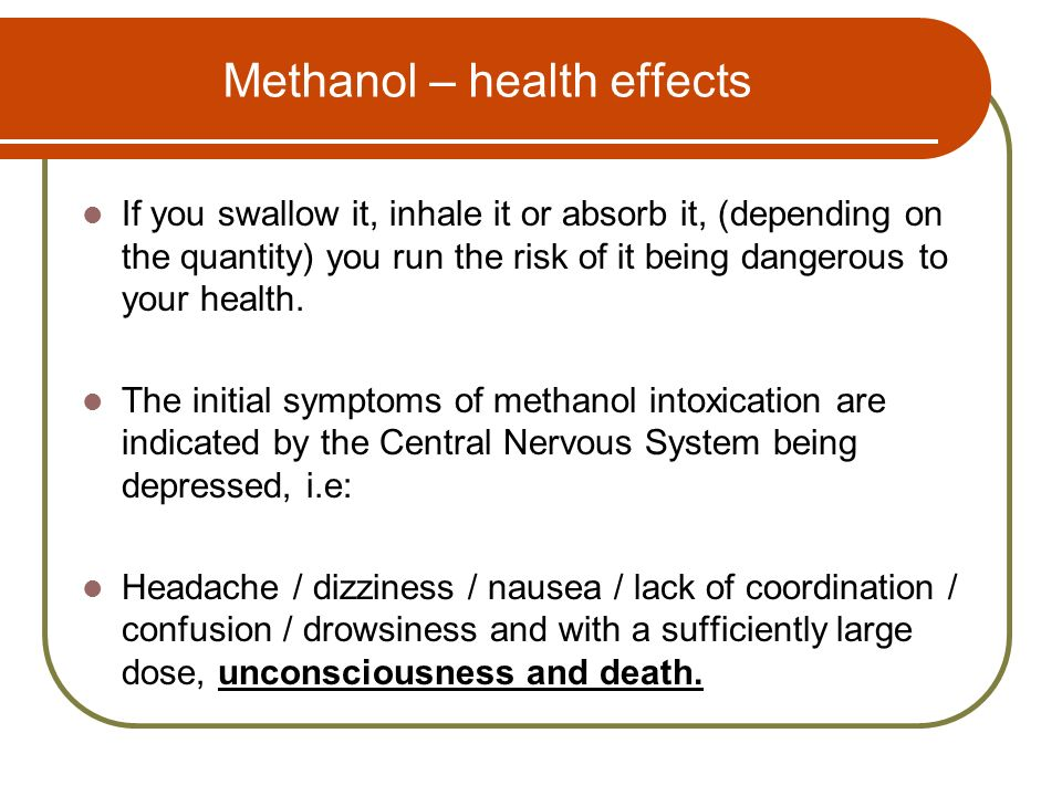 Methanol – health effects