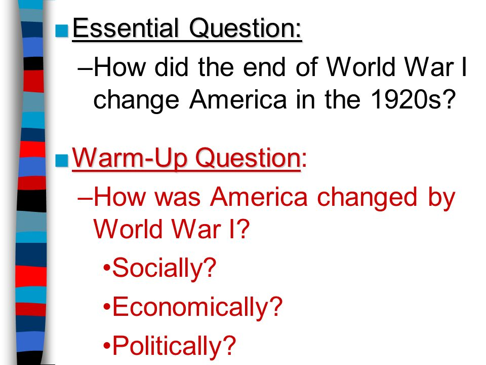 end of world war 1 questions Gain insight into the death and destruction of world war i with firsthand accounts  from former soldiers  prepared for the length and brutality of the war, which took  the lives of millions by its end in 1918  world war i was fought between the  central powers and the allied powers simultaneously on  connection  questions.