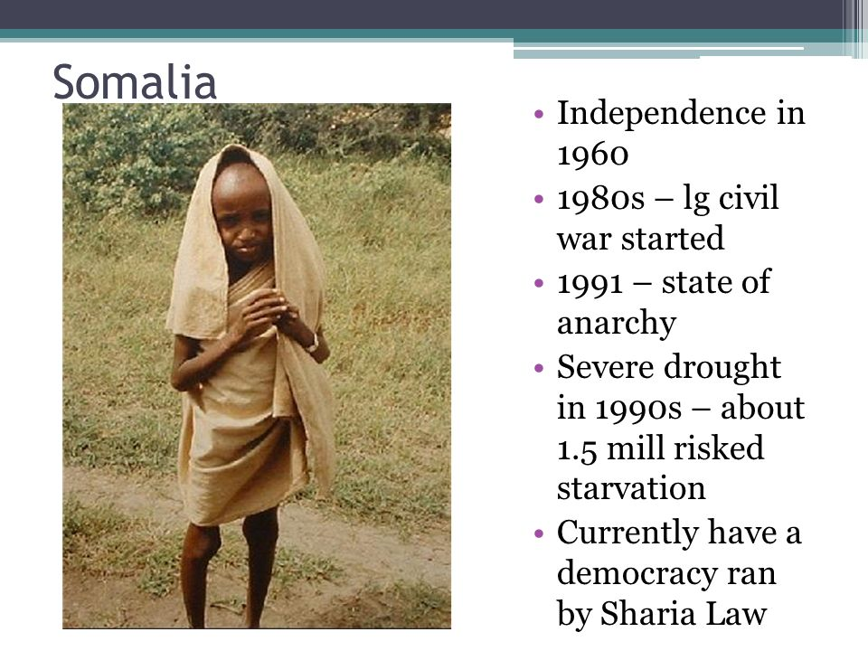 the serious problem of famine war and anarchy in somalia Civil unrest in the wake of a 2-year civil war contributed to a famine in somalia that killed up to 350,000 people in 1992 the problems continued anarchy ruled in somalia and the threat of famine remained.