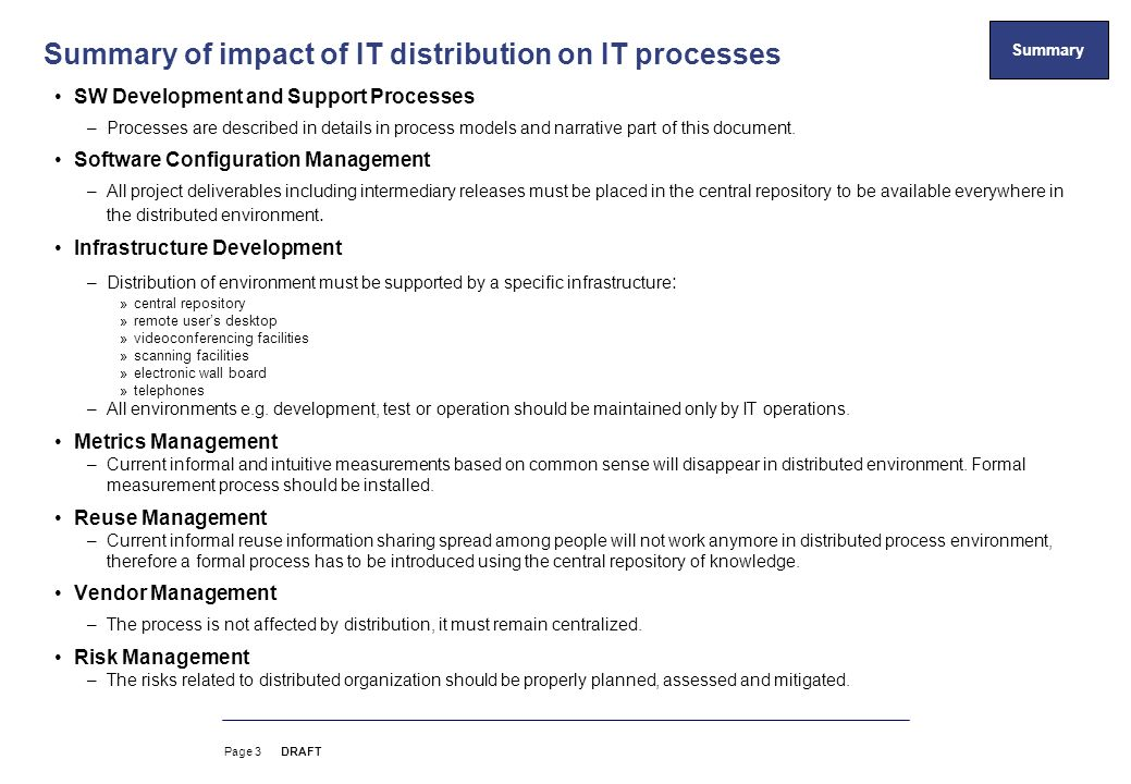 summary of impact of it distribution on it processes - Document Development Process