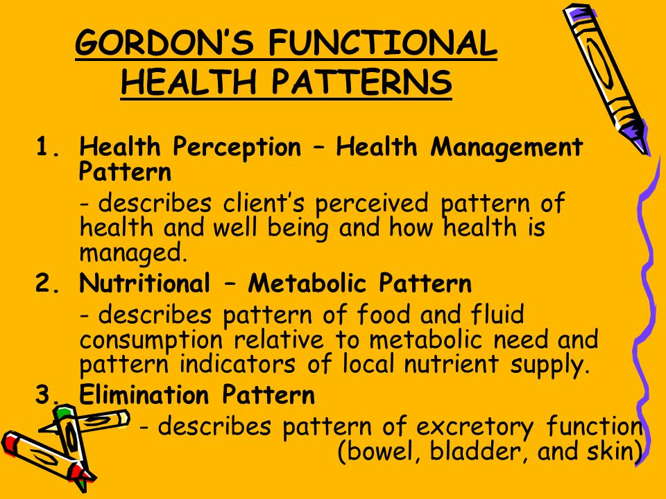 health pattern gordon Study flashcards on gordon's functional health patterns at cramcom quickly memorize the terms, phrases and much more cramcom makes it easy to get the grade you want.