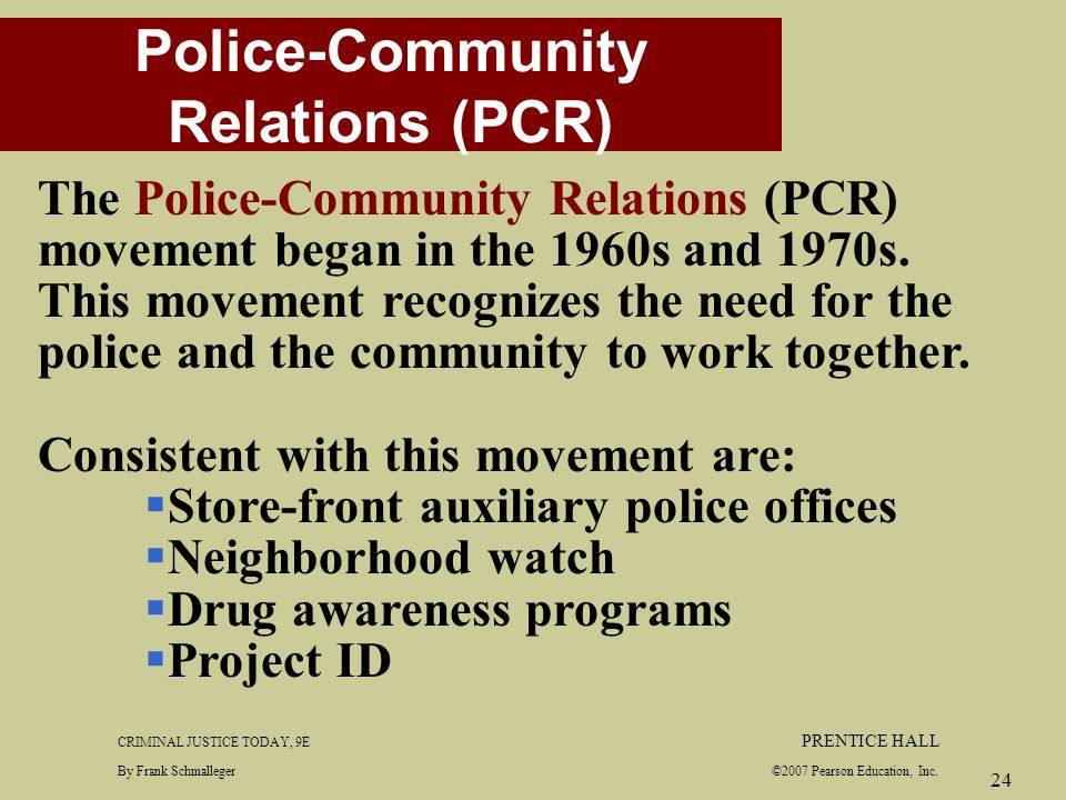 """community oriented policing during the 1960s and 1970s Us, establishment of actual """"police departments"""" was based on growth in   1960s-1970s: after decades of quashed attempts, police themselves are finally   supervision, community relations were poor and failure to employ black officers."""