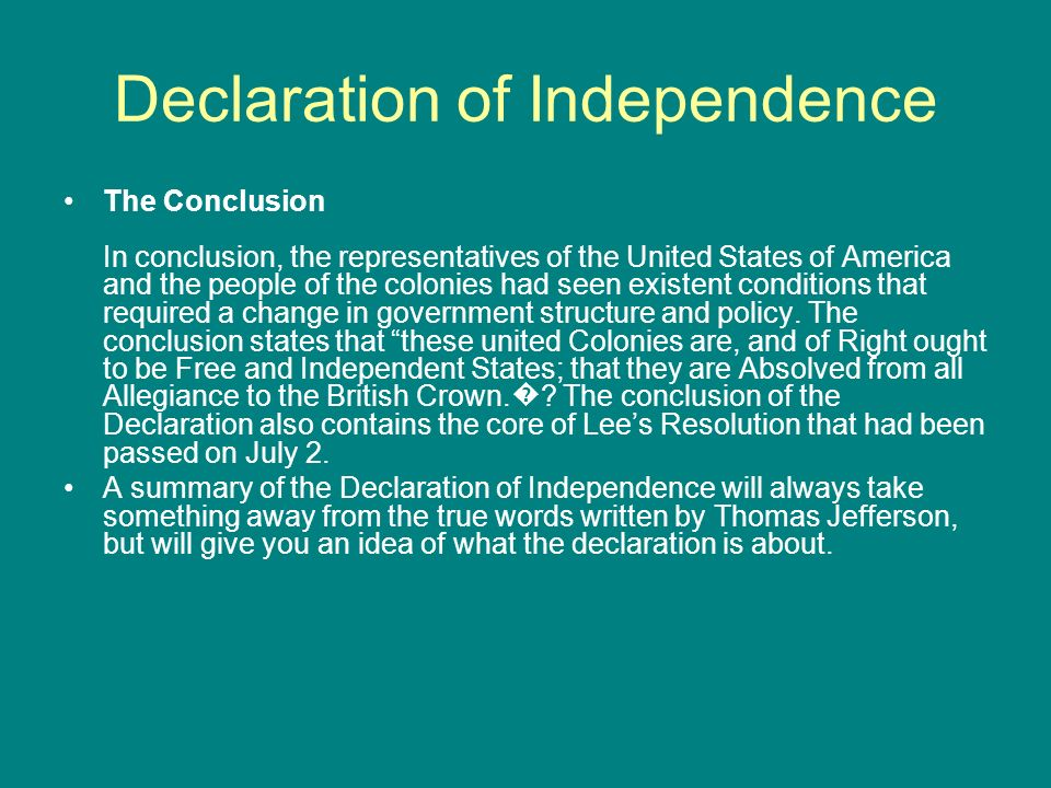 declaration of independence summary Lesson plans for the founding fathers' declaration of independence activities include a summary, timeline of events, and analysis of an important historical document.
