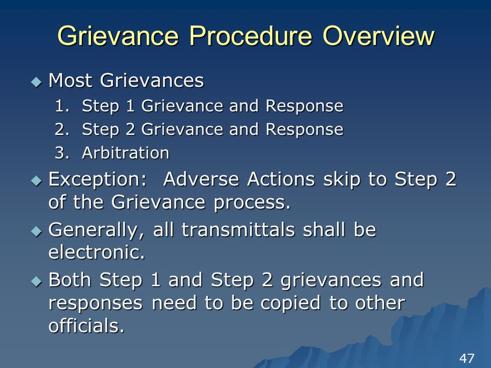 the grievance and arbitration process Grievance and arbitration are powerful tools for defending a member in the workplace.