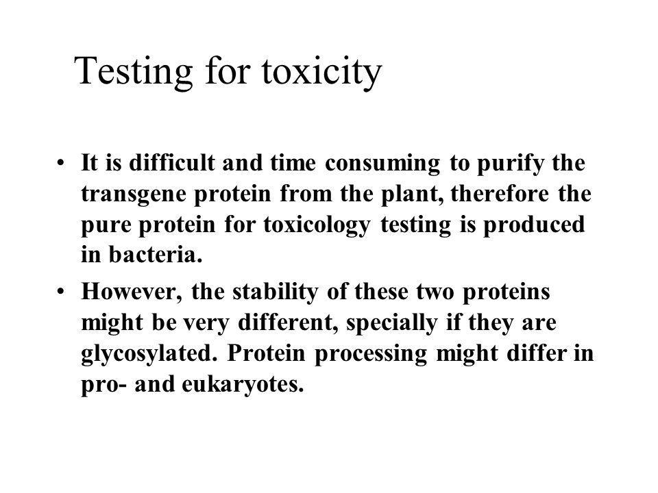 Testing for toxicity