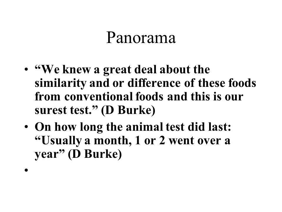 Panorama We knew a great deal about the similarity and or difference of these foods from conventional foods and this is our surest test. (D Burke)