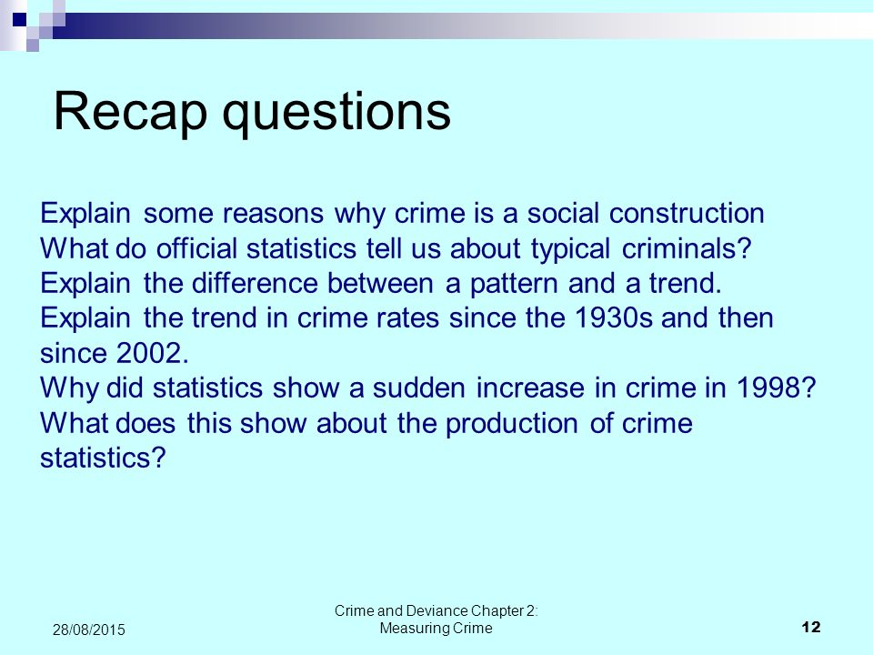 Crime and Deviance Chapter 2: Measuring Crime