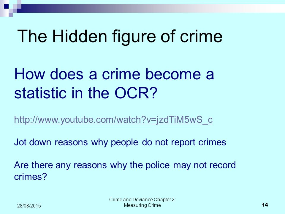measuring crime deviance What is it questionairre if you have had a crime committed against them in the past 12 months how is it carried out posted to people's homes - anonymous.