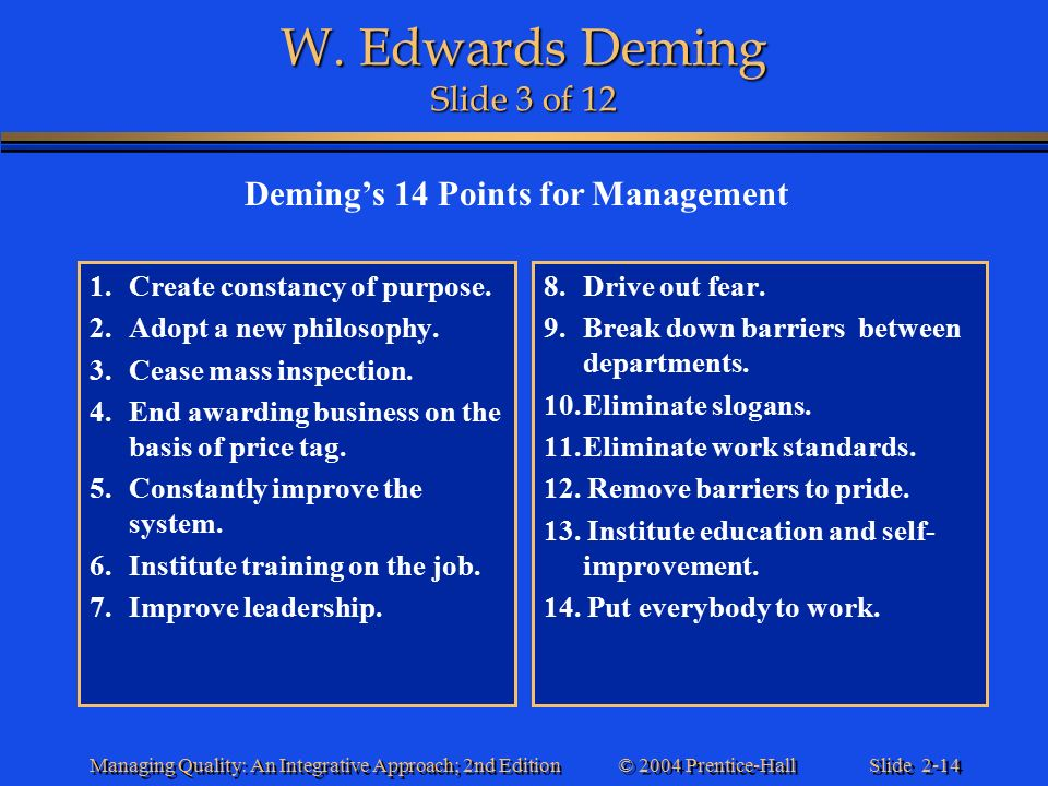edwards deming management philosophy He's also credited for the rise of the tqm or total quality management  the system of profound knowledge outlines dr w edwards deming's philosophy based on.
