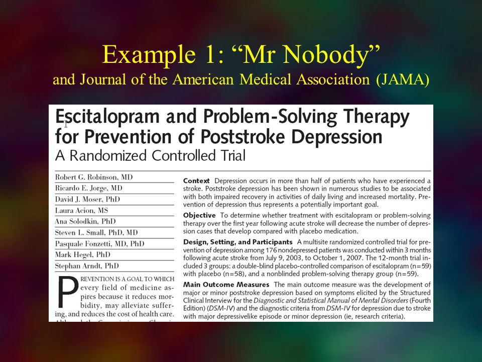 Example 1: Mr Nobody and Journal of the American Medical Association (JAMA)