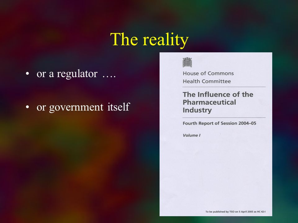 The reality or a regulator …. or government itself