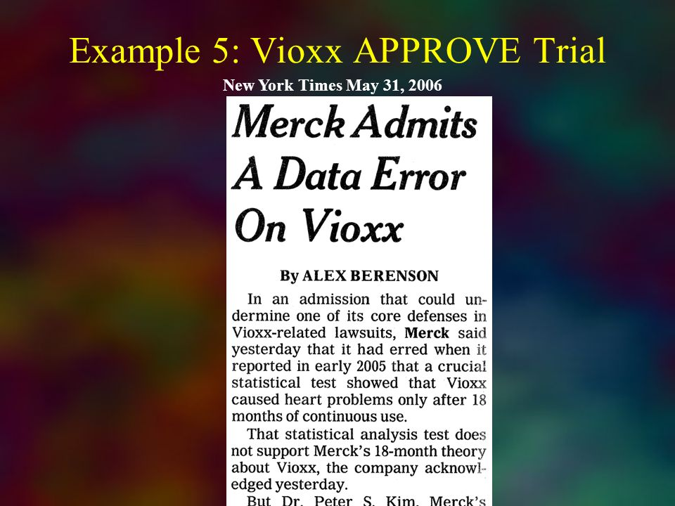 Example 5: Vioxx APPROVE Trial