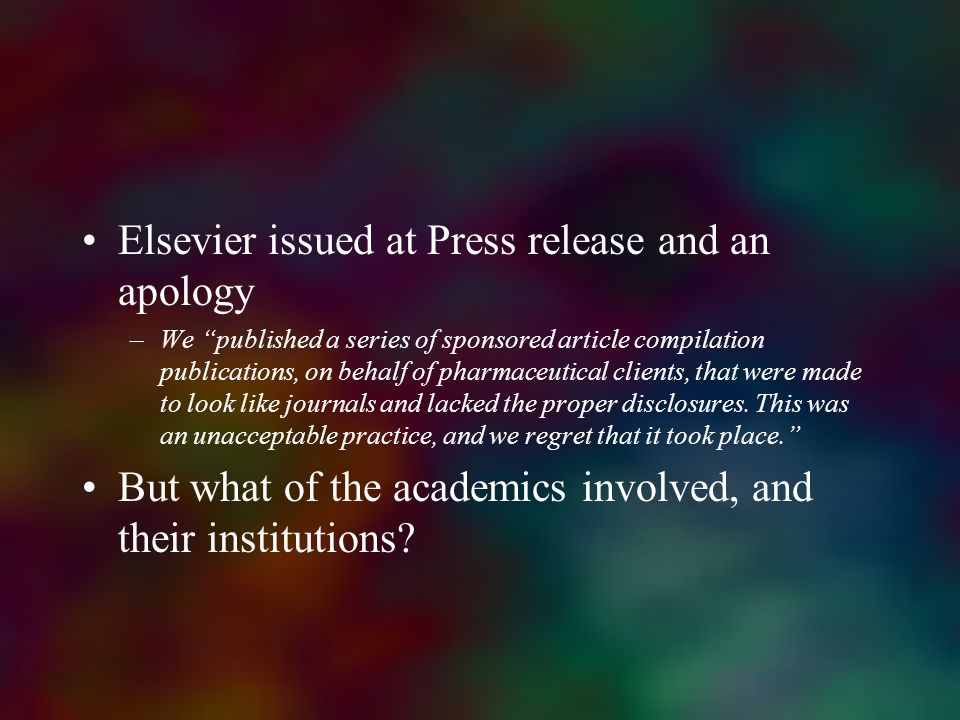 Elsevier issued at Press release and an apology