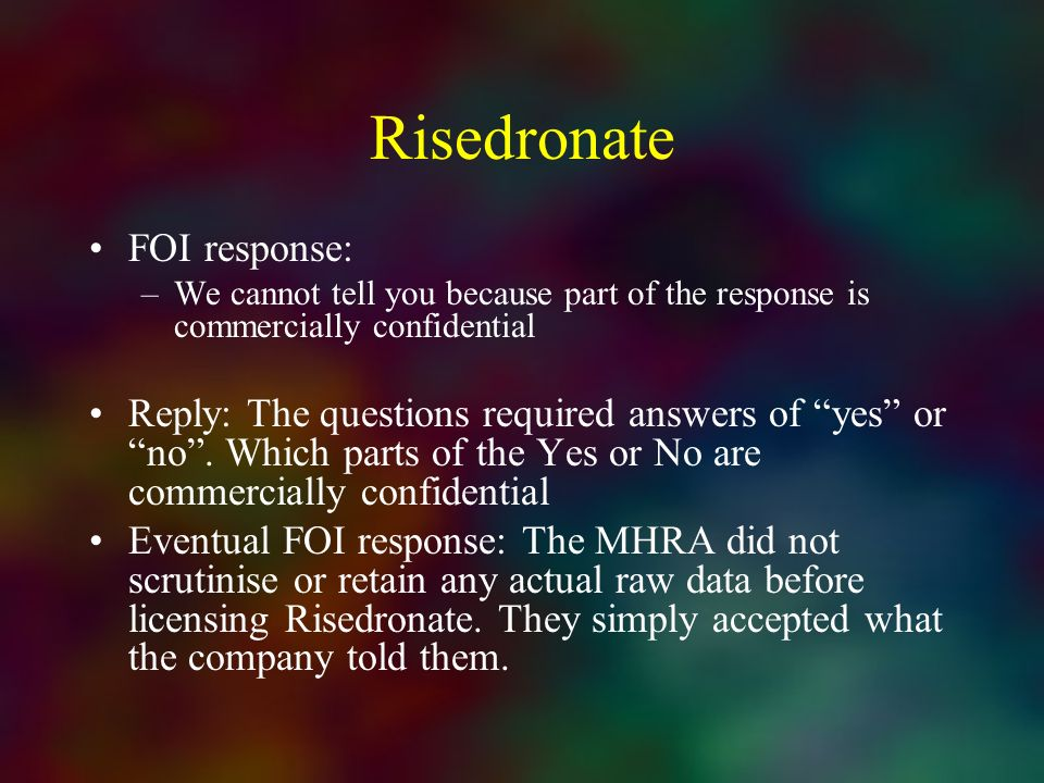 Risedronate FOI response: