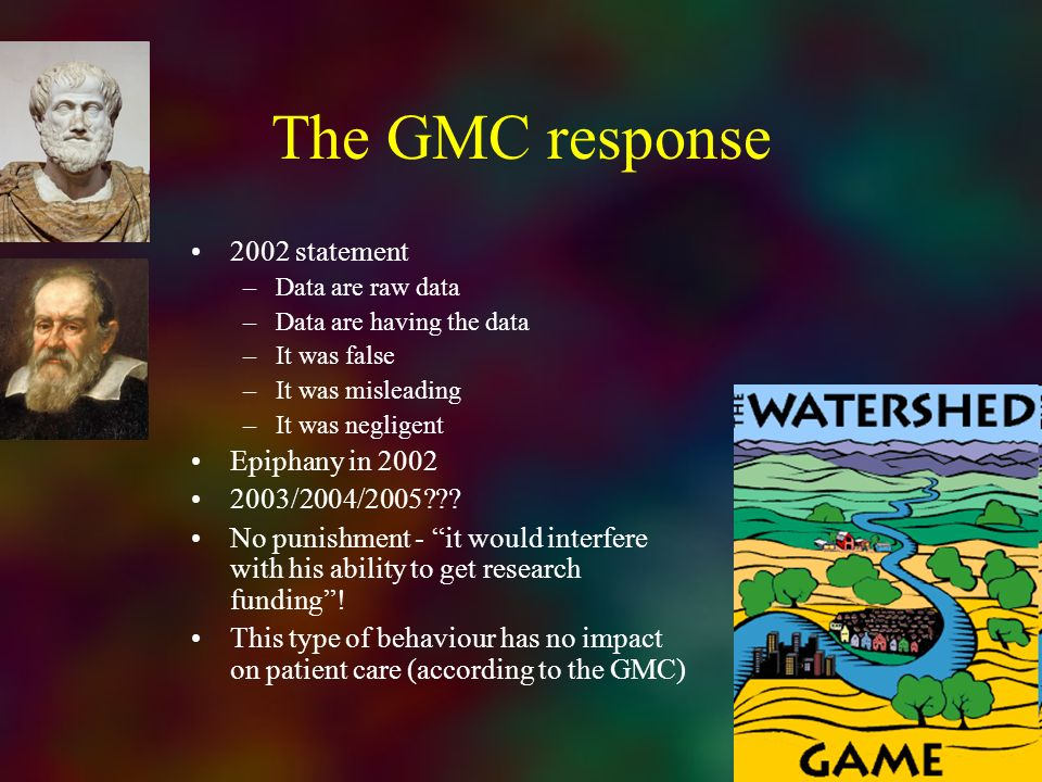The GMC response 2002 statement Epiphany in 2002 2003/2004/2005
