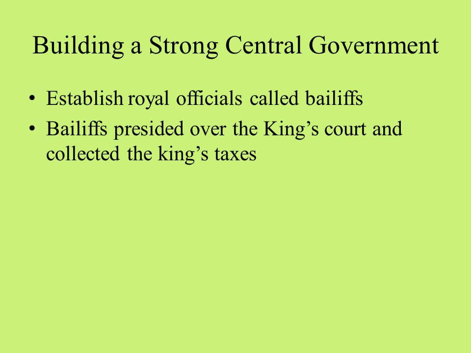 Building a Strong Central Government