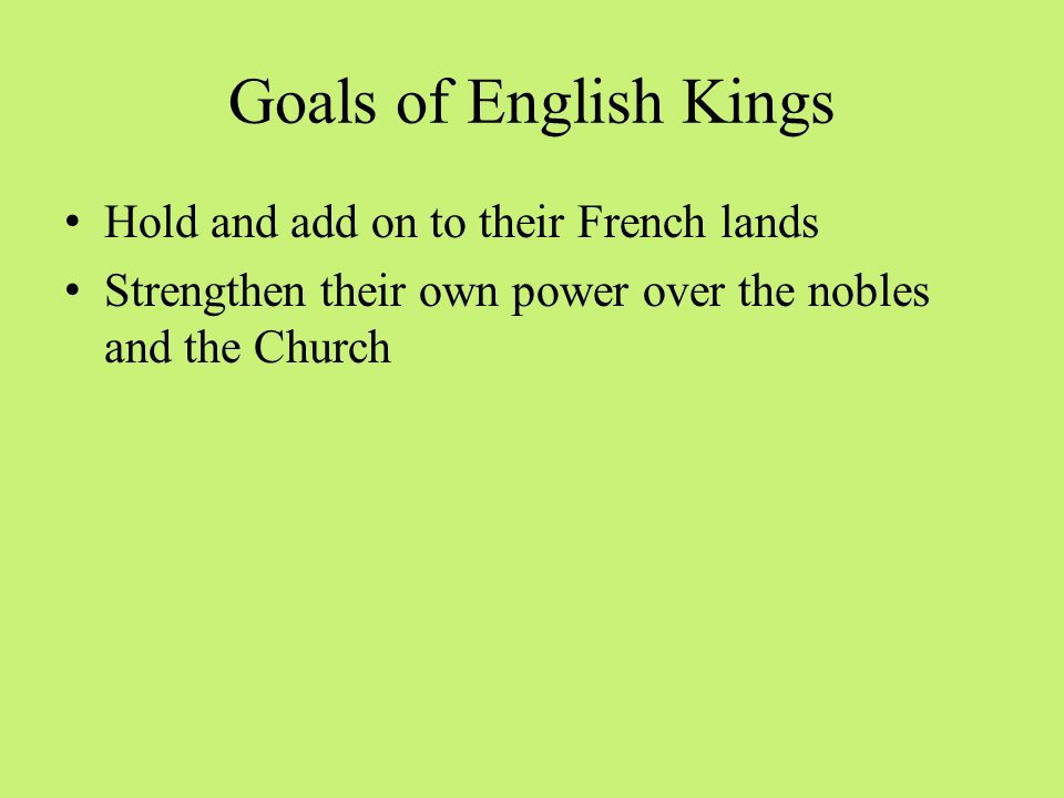 Goals of English Kings Hold and add on to their French lands