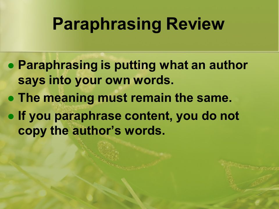 Paraphrasing words video
