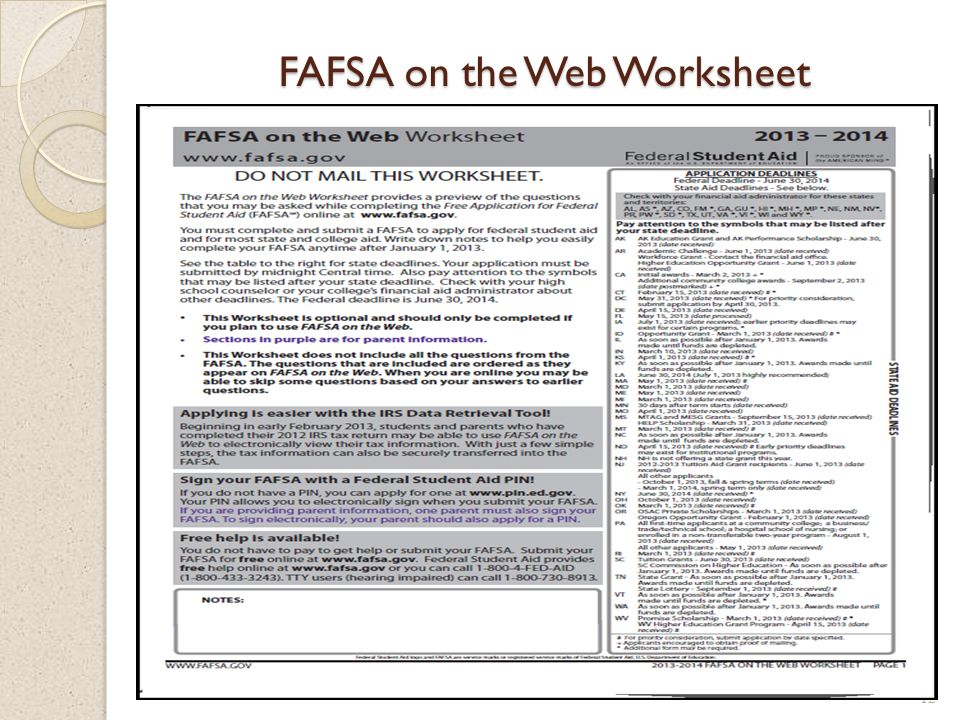 Worksheets Fafsa On The Web Worksheet bronx high school of science ppt download 12 fafsa on the web worksheet