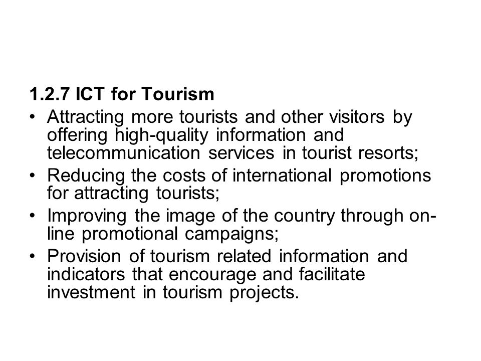 1.2.7 ICT for Tourism