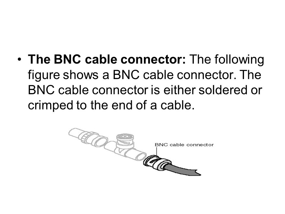 The BNC cable connector: The following figure shows a BNC cable connector.