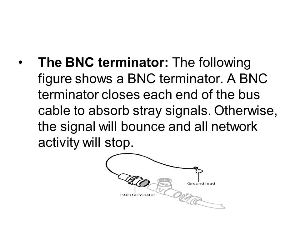 The BNC terminator: The following figure shows a BNC terminator