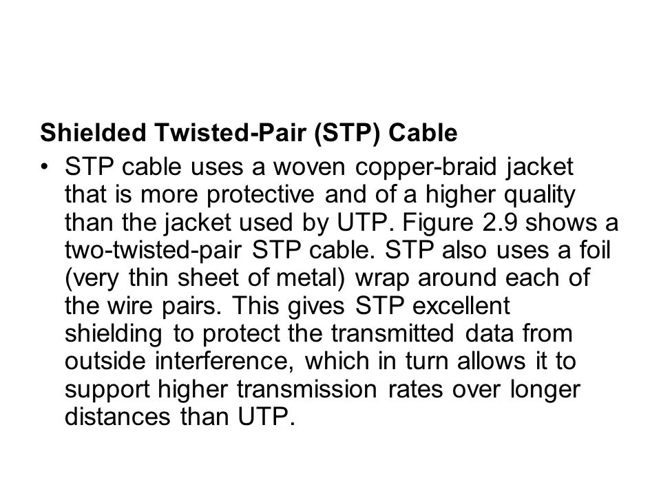Shielded Twisted-Pair (STP) Cable
