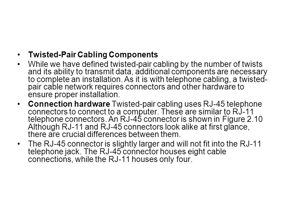 Twisted-Pair Cabling Components