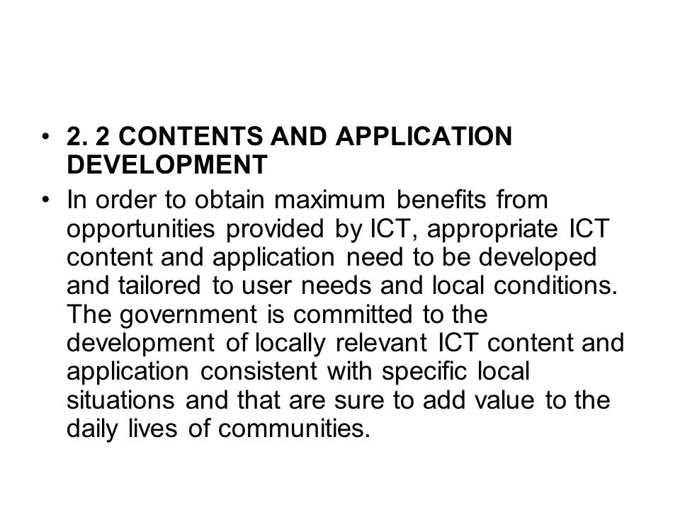 2. 2 CONTENTS AND APPLICATION DEVELOPMENT