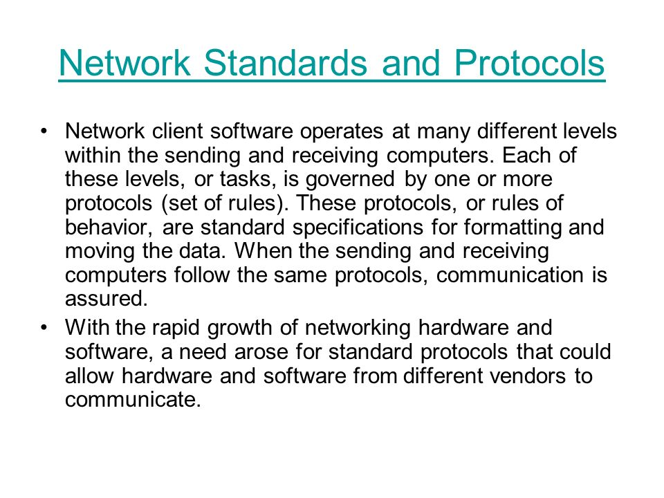 Network Standards and Protocols