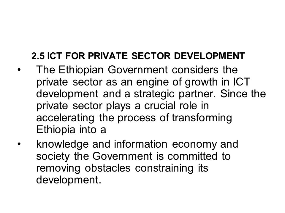 2.5 ICT FOR PRIVATE SECTOR DEVELOPMENT